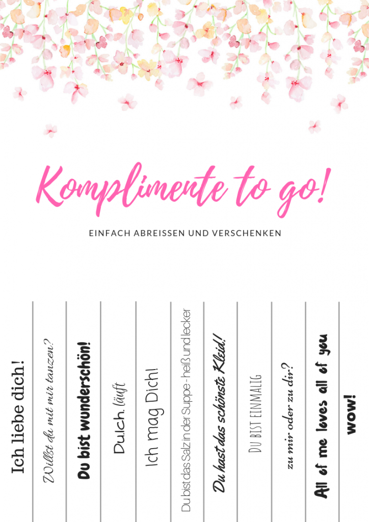 Komplimente to go Blumenhintergrund